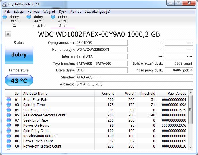 Interfejs programu Crystal Disk Info.