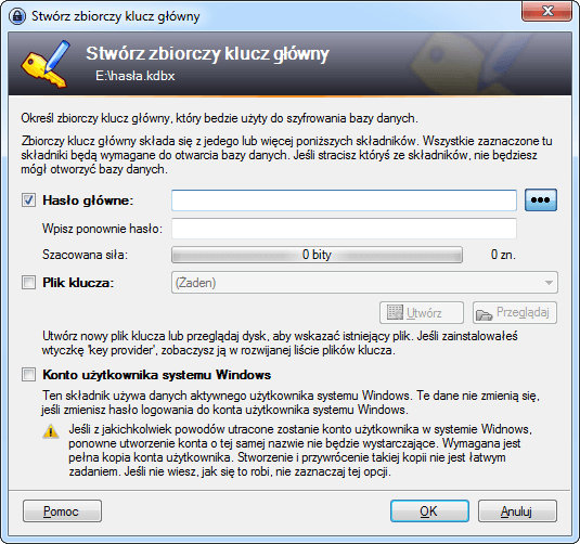 Tworzenie hasła głównego w programie KeePass