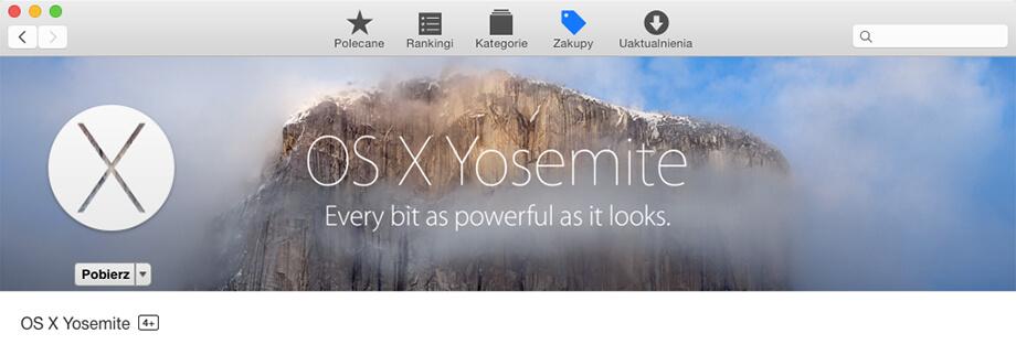 Ponowne pobranie OS X Yosemite z App Store