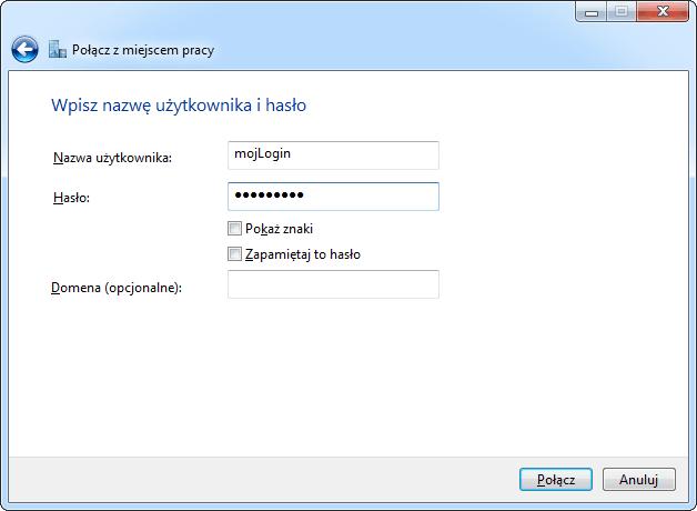 Podawanie nazwy użytkownika i hasła przy tworzeniu połączenia VPN