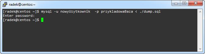 Polecenie mysql użyte do przywrócenia zawartości bazy