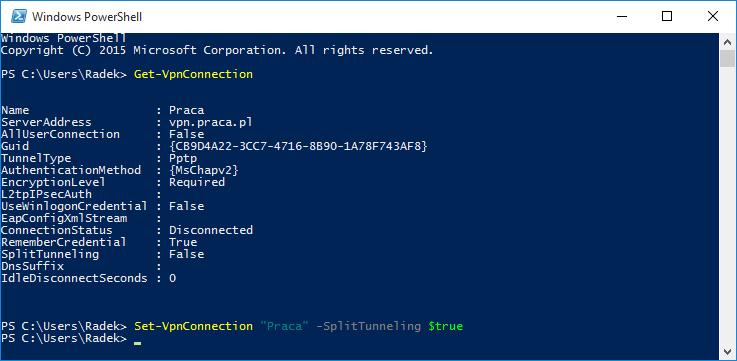 Wyłączenie używania domyślnej bramy zdalnej za pomocą PowerShella
