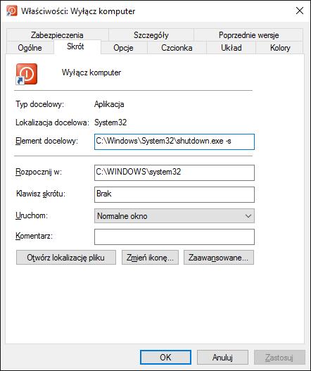 Skrót służący do wyłączenia komputera
