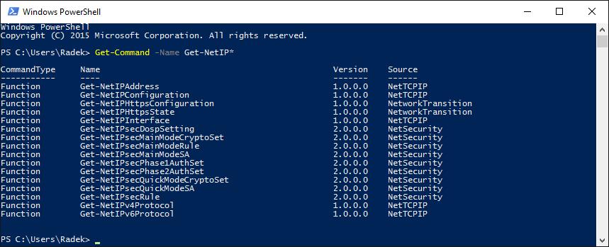 Komendy PowerShella zaczynające się od Get-NetIP