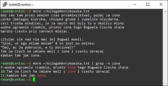 Wyświetlanie linii zawierających tekst pod *nixem