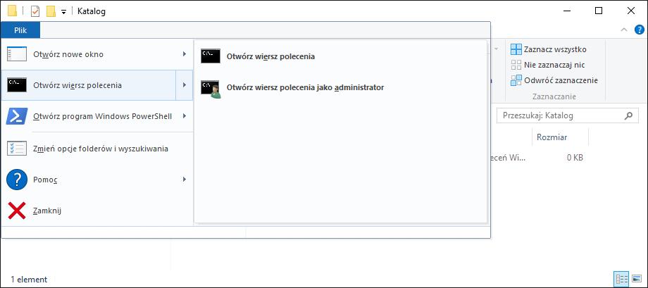Jak Otworzyć Okno Wiersz Poleceń W Folderze Eksploratora