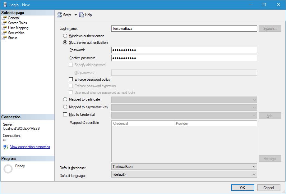 Podstawowe informacje o nowym loginie MS SQL