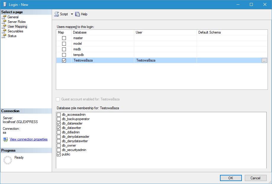 Dodawanie ról do nowego użytkownika MS SQL