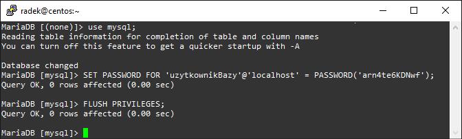 Zmiana hasła użytkownika mySQL