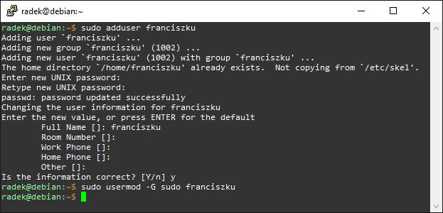 Proces dodawania nowego użytkownika i nadawania praw sudo pod Debianem