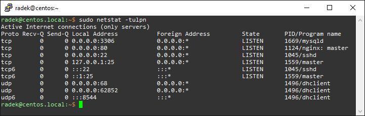 Przykładowy wynik wywołania polecenia sudo netstat -tulpn