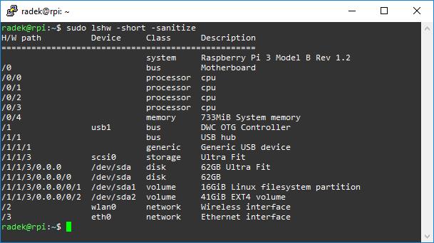 Wynik komendy lshw na Raspberry Pi 3