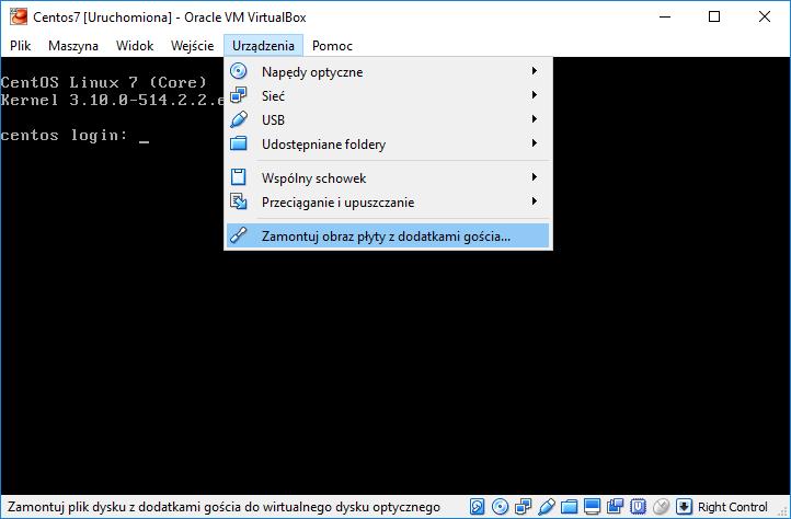 Montowanie obrazu płyty z dodatkami gościa VIrtualBox