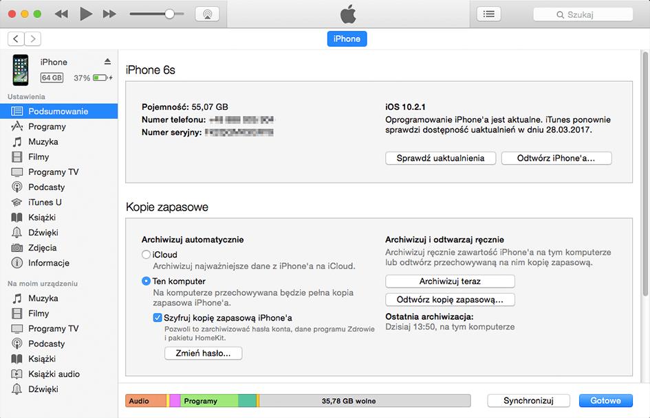 Włączenie szyfrowania kopii zapasowej iPhone w iTunes