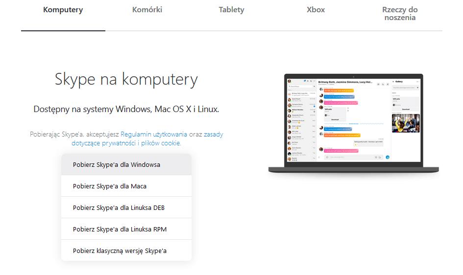 Strona umożliwiająca pobranie klasycznej wersji Skype