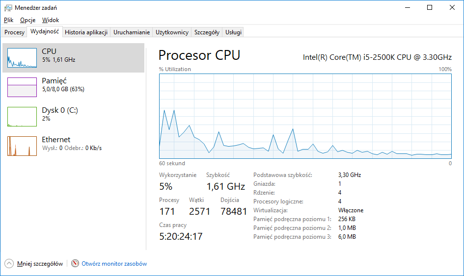Podstawowe informacje o procesorze w Windows 10