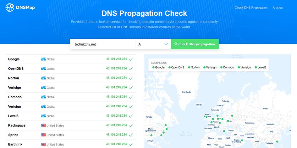Przykłądowy wynik z dnsmap.io