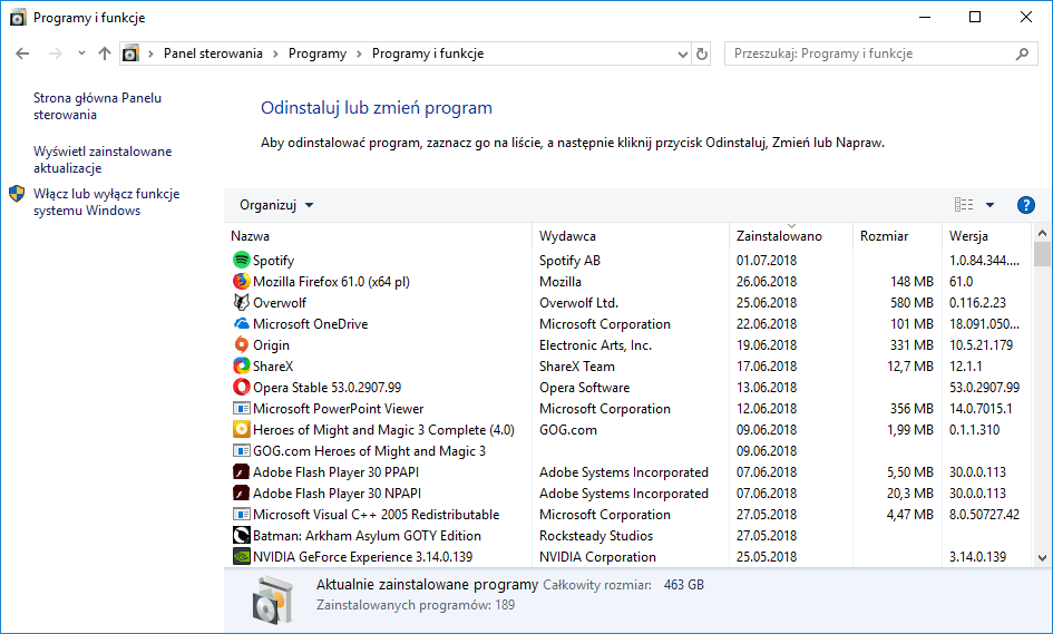 Posortowana według daty lista ostatnio instalowanych programów