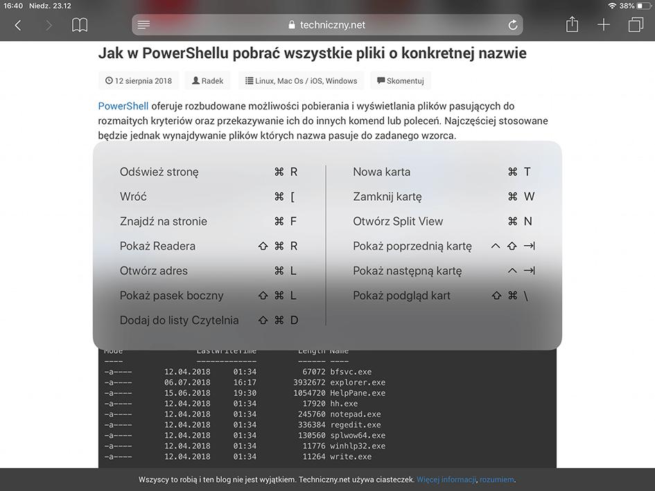 Lista zawierająca dostępne skróty klawiszowe na przykładzie Safari.