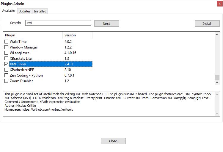 Menedżer pluginów w programie Notepad++