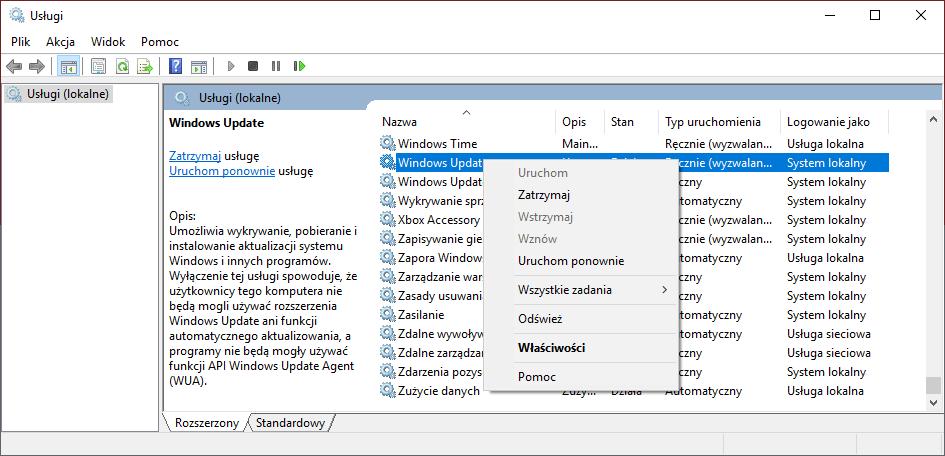 Interfejs programu Usługi.