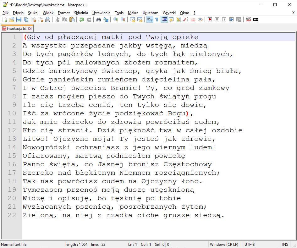 Okno programu Notepad++ po alfabetycznym sortowaniu wierszy.